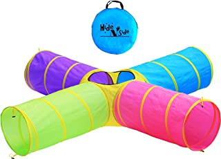 Hide N Side Kids Play Tunnels, Indoor Outdoor Crawl Through Tunnel for Kids Dog Toddler Babies Children , Pop up Tunnel Gi...