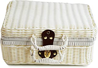 Vintage PP Wicker Picnic Suitcase Food Holder Travel Storage Fruit Imitation Rattan Storage Basket Handmade Woven Handbag,34x24x14cm,White