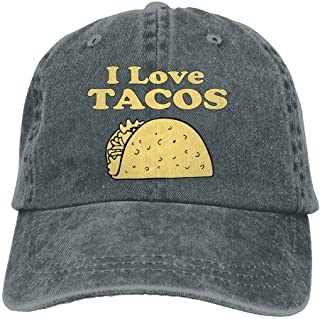 88f1b5dc28016 I Love Tacos Adults Adjustable Cowboy Cap Denim Hat for Outdoor