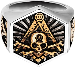 Hexagram Titanium Steel Freemason Masonic Index Finger Ring Skull & Crossbones for Men Gold Tone Size 7-12