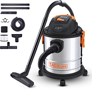 TACKLIFE Wet Dry Vacuum, 5 Gallon, 5.5 Peak HP, 1000W Stainless Steel Wet/Dry Vac, Over 320 Square Feet Clean Range, 4-Layer Filtration System, Dry、Wet、Blow Three Functions for Cleaning Needs-PVC02A