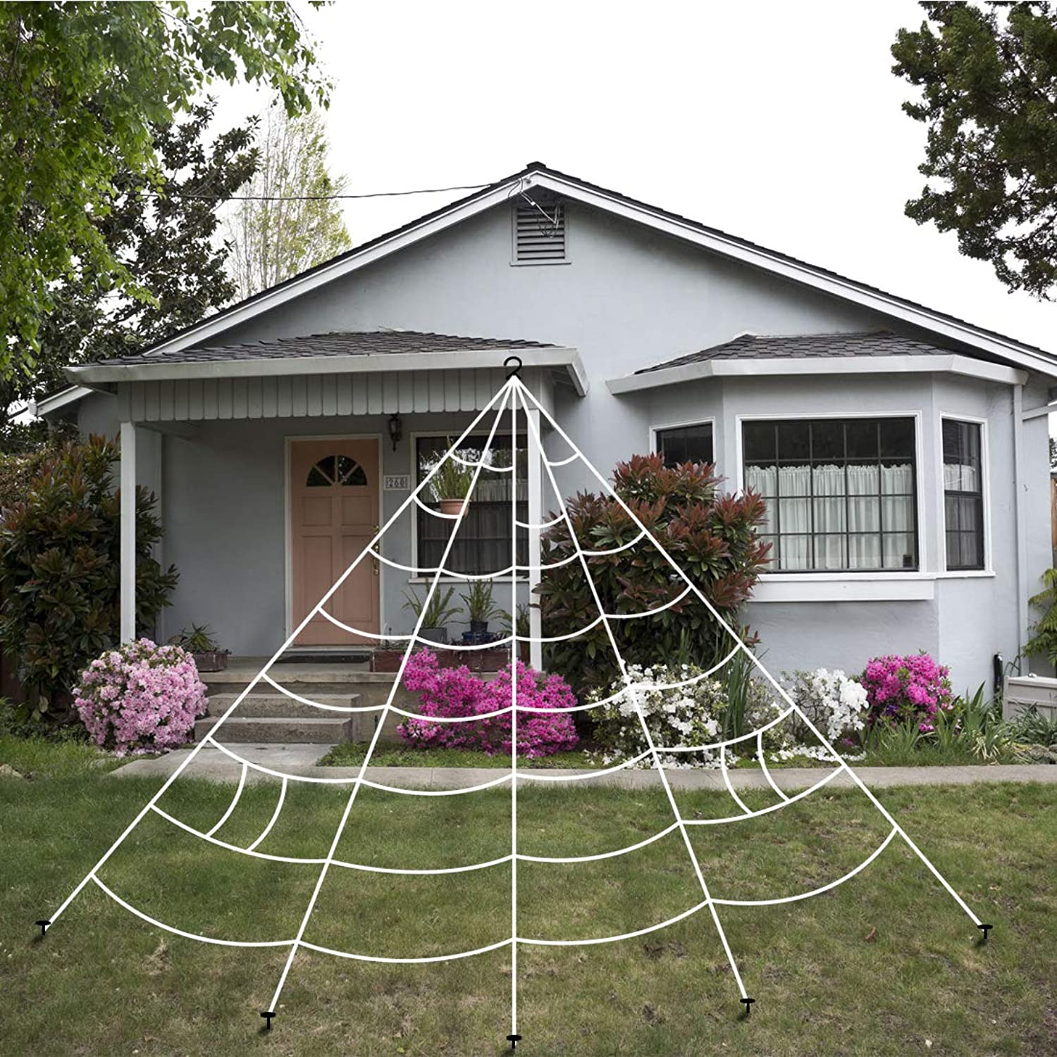 KOMIWOO 192 Inch 16 Feet Giant Huge White Spider Web Decorations, Halloween Large Size Realistic Fake Spiderweb Decor, Outdoor Yard Halloween Decorations for Halloween Party, Giant Spider
