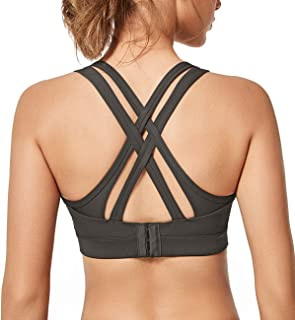 Women High Impact Strappy Criss Cross Back Sexy Sports Bras Adjustable Running Bra