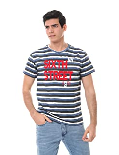 Andora Embroidered Letters Striped Crew-Neck T-Shirt for Men