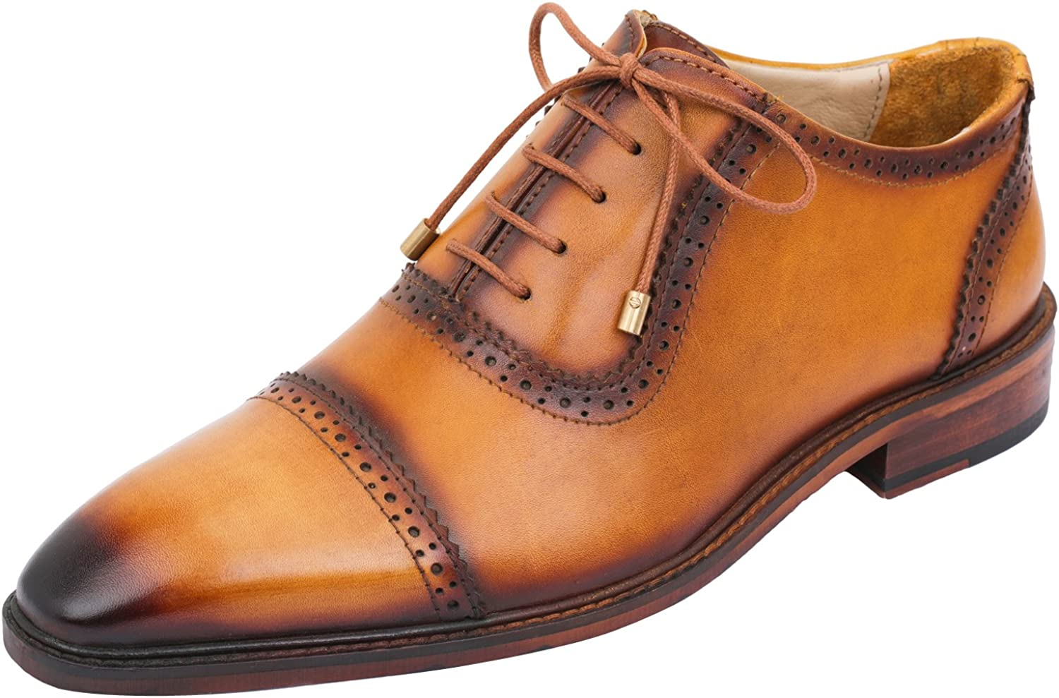 Lethato Handcrafted Mens Brogue Captoe Leat Derby 人気急上昇 Oxford Genuine 蔵