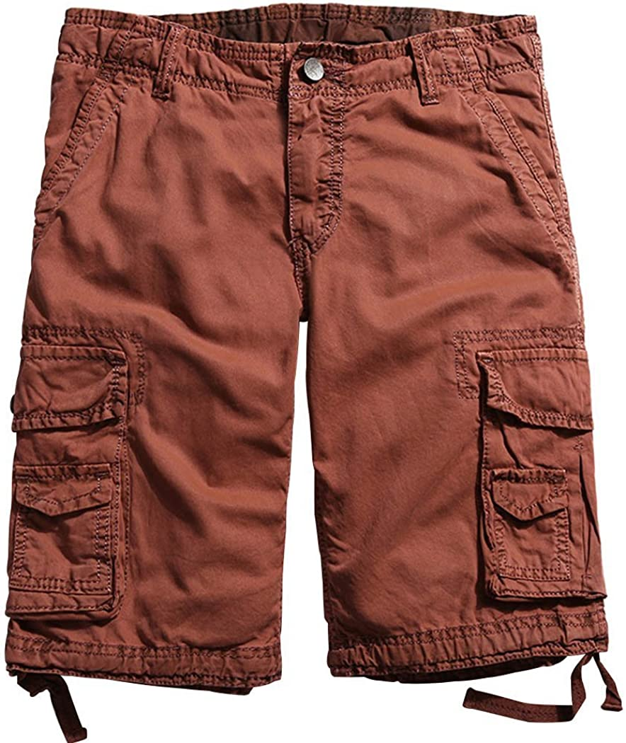 November's Chopin Mens 100% Cotton Cargo Shorts Multi Pocket Relaxed Fit Outdoor Shorts