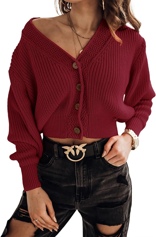 Febriajuce Women's Long Sleeve V-Neck Button Manufacturer OFFicial shop Cropp Knit Rib Philadelphia Mall Down