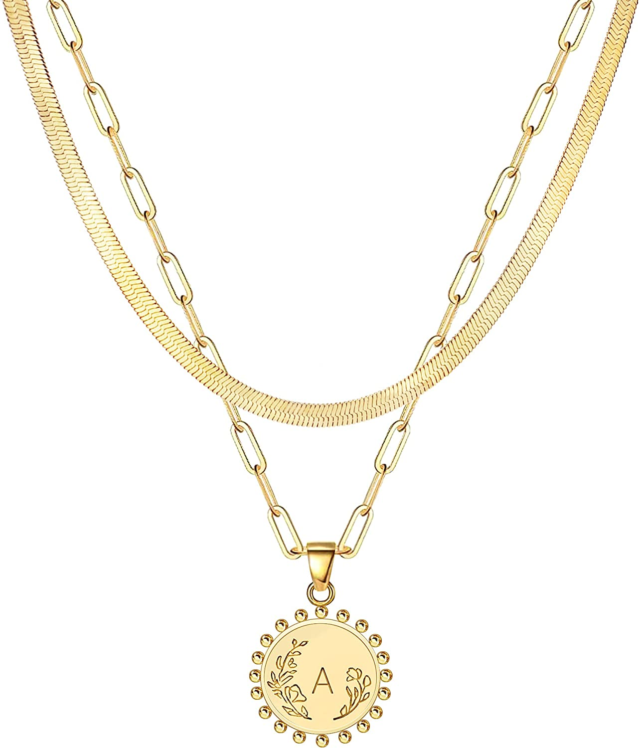 JSJOY Layered Initial Necklaces Discount is also underway for Women Gold Spring new work one after another Paperclip Chain