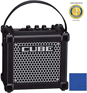 Roland M-CUBE-GX Micro Cube GX 3W 1x5' Guitar Combo Amp Black and 8 Universal Electronics AA Batteries Bundle with 1 Year Free Extended Warranty