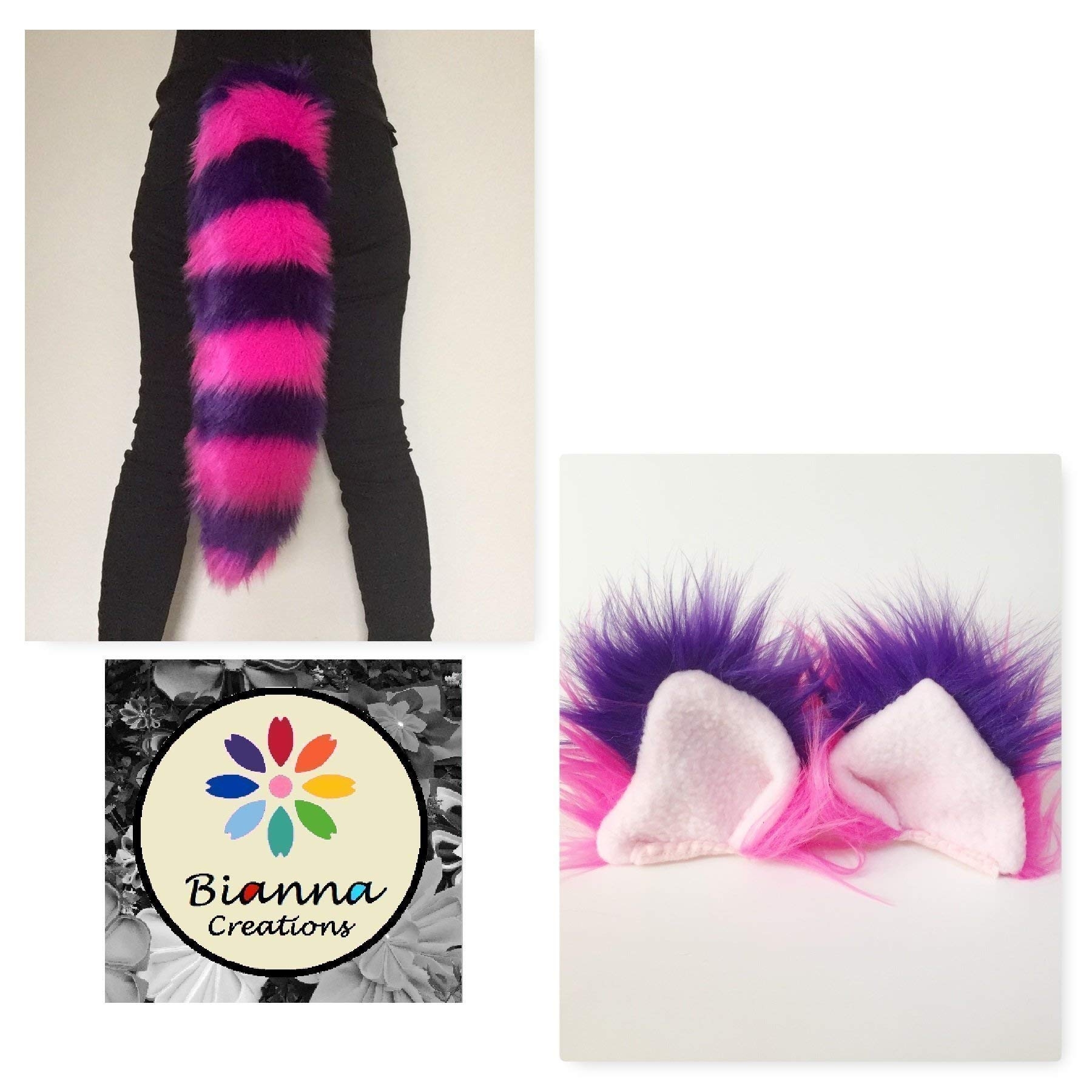 Thin Striped Hot Pink and Purple Cheshire Cat Luxury Costume Set, You choose Tail size, Ears or both, Super Soft Faux Fur, Bianna Creations Handmade, Halloween Costume Accessory