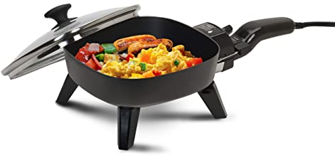 Elite Cuisine EFS-400 Maxi-Matic 7-Inch Non-Stick Electric Skillet with Glass Lid, Black