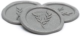 Paquete de 100 sellos de lacre plata autoadherible 3cm diseño ramas ALB