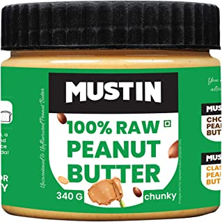 MUSTIN 100% All Natural Peanut Butter Chunky 340 Gram Unsweetened Peanut Butter Spread with No Added Refined Sugar, No Add...