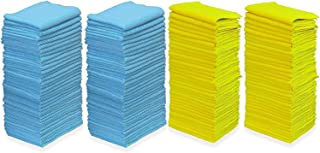 "Pull N Wipe 79089 Edgeless Technology Microfiber Cloths, 2 Free Dispenser Boxes, 12""x12"", Blue/Yellow, 100 Pack"