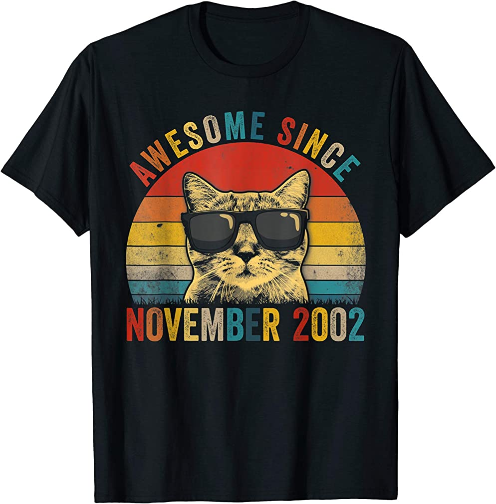 Awesome Since November Cat Lover 2002 17th Birthday Gift T-shirt