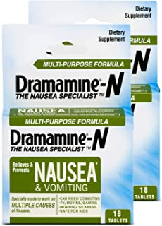Dramamine-N Multi-Purpose Formula Nausea Relief, 18 Count (Pack of 2)