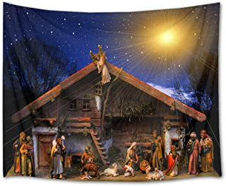 HVEST Christmas Tapestry Wall Hanging Starry Sky Tapestry Jesus Nativity Wall Tapestry Christian Wall Art for Bedroom Living Room Dorm Decor, 60Wx40H inches