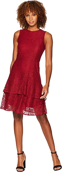 Sleeveless Lace Double Flounce Dress