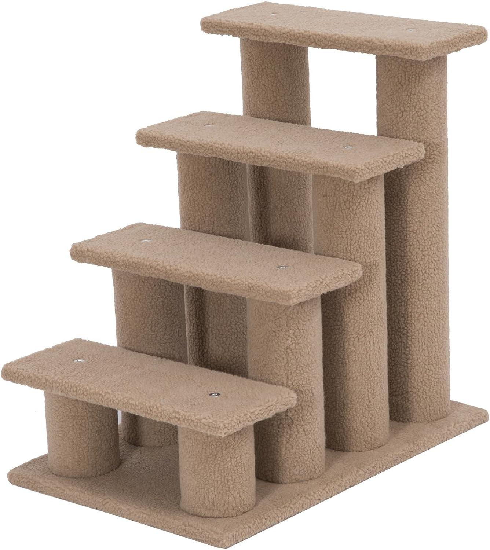 PawHut 4 Tier Pet Stairs Dog Cat Step Scratch Post Furniture, Light Brown