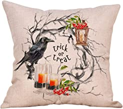 Winsummer Set of 4 Pillow Covers Halloween Thanksgiving Autumn Printing Cushion Cover Fall Theme Pillowcase Home Decoration Throw Pillow Case Covers 4 Pack 18x18 inch