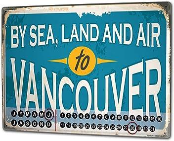 Dauer Wand Kalender Retro Metropole  Portland USA Metall Magnet