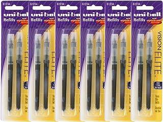 Uni-Ball Vision Elite Rollerball Pen Refills, 0.8mm, Bold Point, Blue-Black Ink, Pack of 12