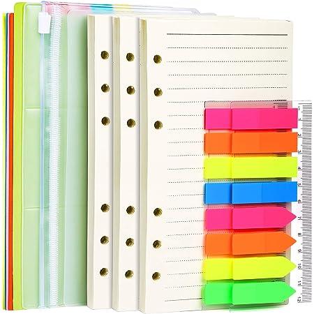 p/áginas blancas tama/ño A5 Paquete de recambio de papel de 6 agujeros Hojas de Recambio anillas Papel de punto 80 Hojas 21 x 14 cm para cuaderno A5