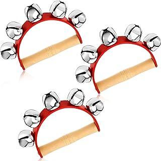 3 قطعه زنگ سورتمه قرمز Jingle Bells Musical Bell Instrument چوبی دستگیره های چوبی با 5 صدای جنجل استیل برای هدایای ولنتاین