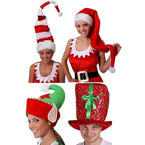 CHRISTMAS SANTA HAT RED CAP ADULT MENS GIRL XMAS PARTY FANCY DRESS COSTUME