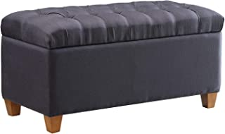 Tufted Storage Bench Dark Navy