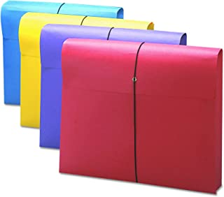 """Smead Expanding File Wallet with Antimicrobial Product Protection, Closure, 2"""" Expansion, Closure, Letter Size, Assorted Colors, 4 per Pack (77291)"""