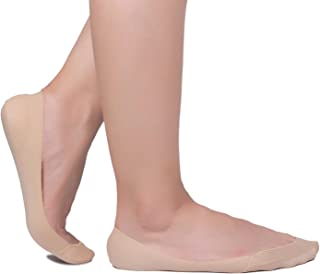 Flammi 4 Pairs Women's Ultra Low Cut No Show Liner Socks Non-Slip Cotton Invisible Socks