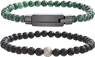 Steve Madden Men's Stainless Steel Malachite Beaded Bracelet, 8.5 Inch - SMBS547210-LS
