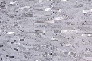 "Peel and Stick Backsplash Stone Tile for Kitchen, Faux Volakas White Stone Backsplash (11.5"" X 5.86"", 1 Tile)"