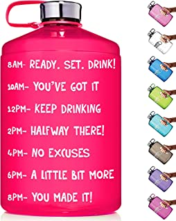 HydroMATE 1 Gallon Motivational Water Bottle with Time Marker Large BPA Free Jug with Handle Reusable Leak Proof Bottle Time Marked to Drink Hydro MATE 128 oz