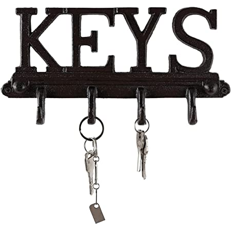 Key Holder Keys Wall Mounted Western Key Holder 4 Key Hooks Decorative Cast Iron Key Rack With Screws And Anchors 6x8 Ca 1506 04 Rustic Blue Office Products