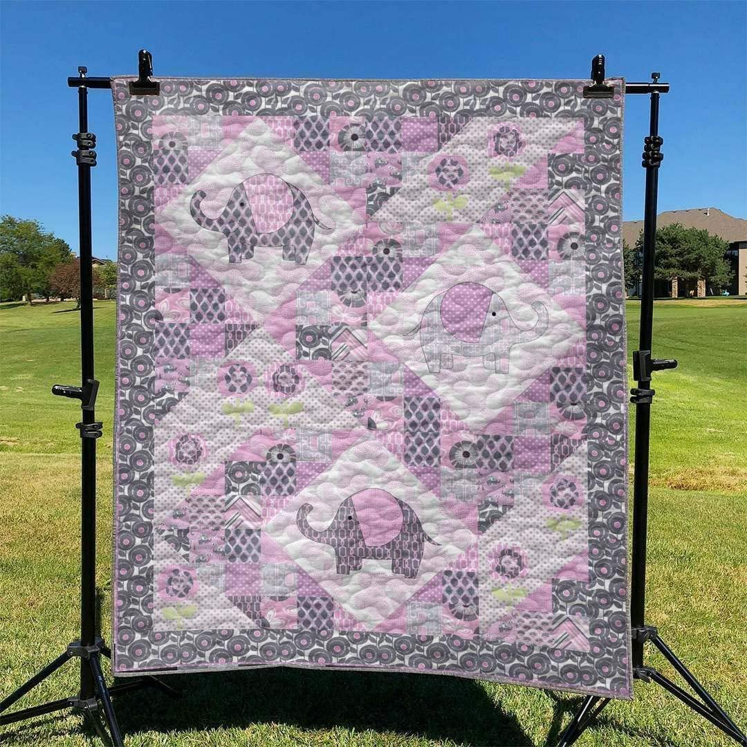 Personalized Mail order Very popular Elephant Quilt - Queen Baby Twi King