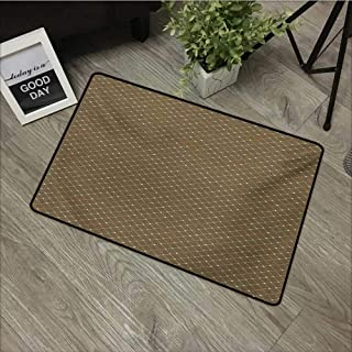 Living Room Door mat W19 x L31 INCH Abstract,Floral Arrangement Vintage Checkered Pattern Dotted Lines Surreal Nature,Umber Multicolor Non-Slip, with Non-Slip Backing,Non-Slip Door Mat Carpet