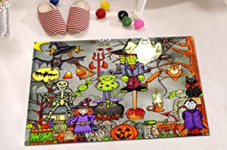 LB Witch Haunted House Vampire Black Car Spider Web Rug Mat Set, Halloween Themed Bathroom for Kids, 15 x 23 Inch Mat Flannel Surface Comfortable