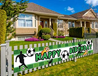 Colormoon Large Soccer Happy Birthday Banner, Soccer Birthday Party Supplies Decorations, Sports Themed Party Decorations (9.8 x 1.5 feet)
