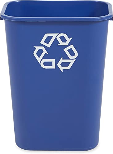 Rubbermaid Commercial Products Fg295773Blue Plastic Resin Deskside Recycling Can, 10 Gallon/41 Quart, Blue Recycling ...