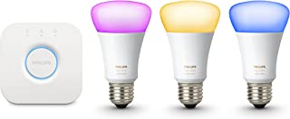 Philips Hue Starter Kit Wit en kleur Ambiance: Smart Bulb 3 Pack LED [E27 Edison Schroef] Inclusief Hue Bridge, werkt met ...