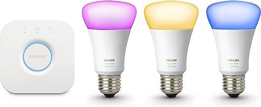 Philips Hue Witte en kleur Ambiance Starter Kit: Smart Bulb 3x Pack LED [E27 Edison Schroef] Inclusief: Bridge (Werkt met ...