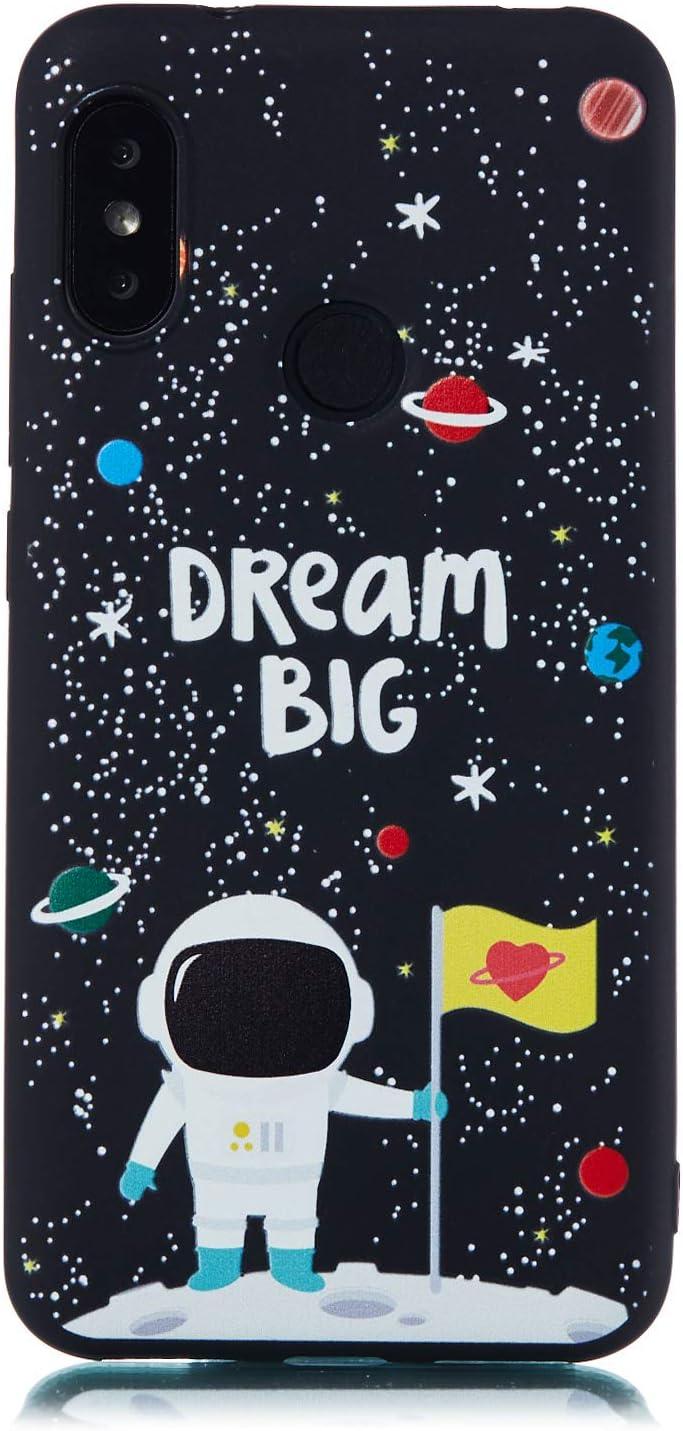 CUAgain Funda Compatible con Xiaomi Mi A2 Lite/Redmi 6 Pro Silicona Dibujos Motivo Negro Kawaii Ultrafina One Piece Carcasa Case Antigolpes Bumper Resistente Cover,Astronauta