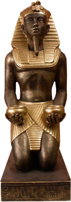 KARO DESIGN Pharao TEELICHT-Halter TEELICHT GYPTEN STUCKGIPS HANDBEMALT Ramses TUT ENCH AMUN