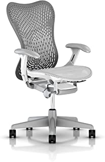 Herman Miller Mirra 2 Ergonomic Office Chair with Tilt Limiter and Fixed TriFlex Back Support   Adjustable Seat Depth, Lumbar Support, and Arms with Carpet Casters   Slate Grey/Alpine