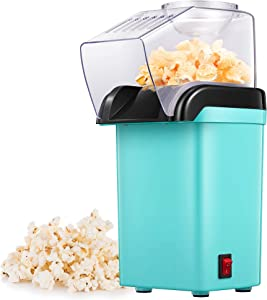 Hot Air Popcorn Maker, 1200W Fast Home Popcorn Popper with Measuring Cup and Removable Top Cover, Easy To Clean & Healthy Oil-Free, Perfect for Movie nights, BPA-Free&ETL Certified (GREEN)