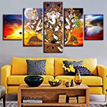 Yyjyxd Modular Canvas Home Decor Pictures 5 Pieces Hindu Lord Ganesha Painting Living Room HD Printed Abstract Poster Wall Art Framewor-16x24/32/40inch,with Frame