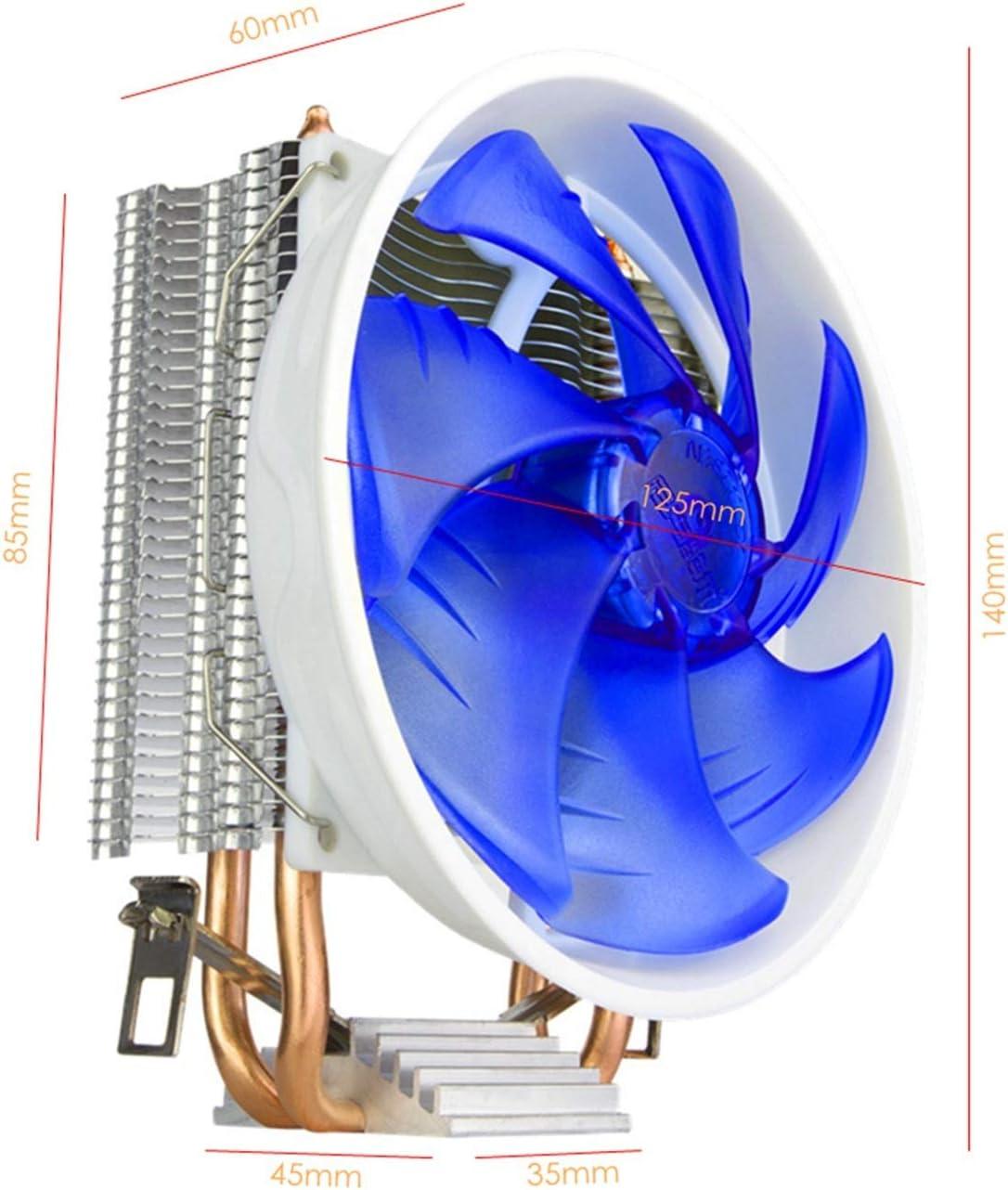Range Tranquilo CPU Cooler 2 Tubo de Calor LED Ventilador de CPU para LGA 775/1150 / 1151/1155/1156/1366, AM4 / AM3 / AM2 Fácil de Transportar e Instalar