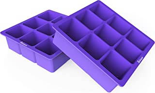 Bakerpan Silicone Medium Ice Cube Mold Stackable Tray, 1.5 Inch Squares, 9 Cavities - Set of 2